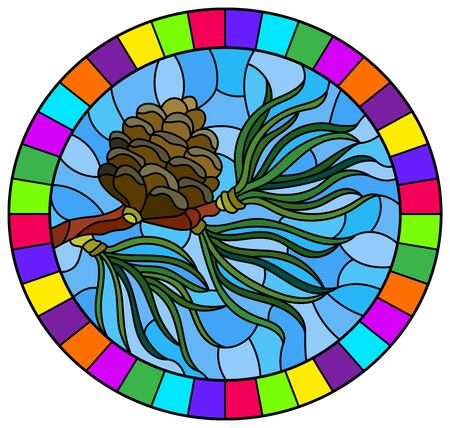 Illustration in stained glass style with a branch of larch, cone and needles on a branch on a blue background, oval image