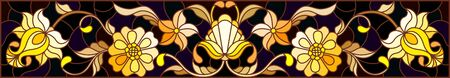 Illustration in stained glass style with floral ornament ,imitation gold on dark background with swirls and floral motif Illusztráció