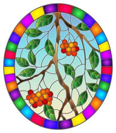 Illustration in stained glass style with a branch of mountain ash, clusters of berries and leaves against the sky in bright frame , oval  image