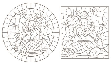 Set of contour illustrations of stained glass Windows with Easter baskets with eggs and flowers, dark outlines on a white background Illusztráció