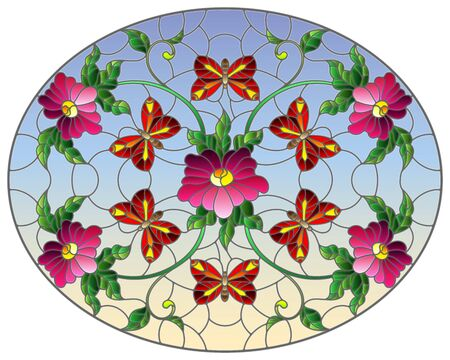 Illustration in stained glass style with abstract curly pink flower and a red butterfly on blue background , oval image