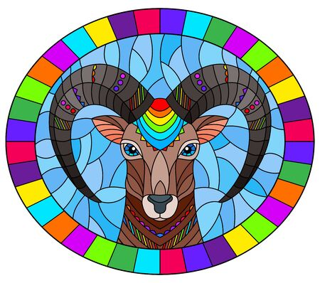 Illustration in the style of stained glass with abstract  ram head on a blue background oval image in bright frame Illusztráció
