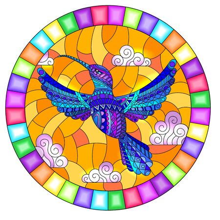 Illustration in stained glass style with blue abstract Hummingbird bird flying against the range sky and clouds, oval image in bright frame