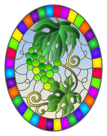 The illustration in stained glass style painting with a bunch of green grapes and leaves on a sky  background, oval image in bright frame