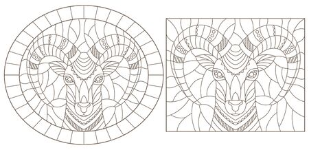 Set of contour illustrations of stained glass Windows with rams  heads, dark outlines on a white background