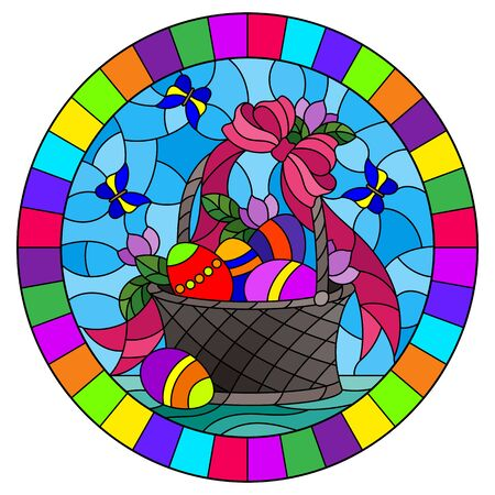 Illustration in stained glass style for Easter, basket with Easter eggs and flowers on a blue background, oval image in bright frame Illusztráció