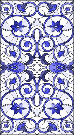 Illustration in stained glass style with abstract flowers, swirls and leaves  on a light background,horizontal orientation, tone blue