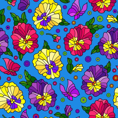 Seamless pattern with pansys and butterflies, bright flowers on a blue background