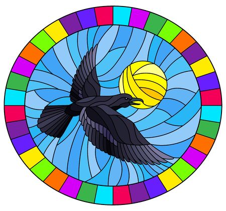 Illustration in stained glass style raven on the background of sky and sun, oval image in bright frame