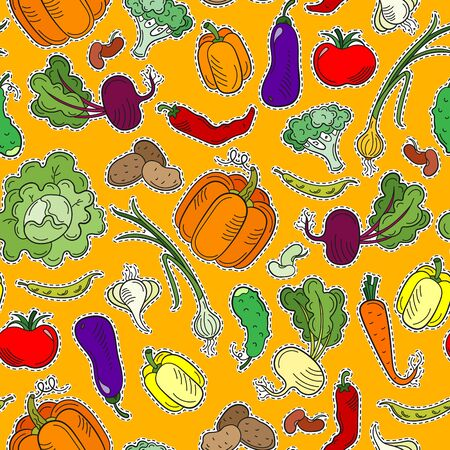 Seamless pattern on the theme of vegetables and healthy food, ripe bright vegetables ,patch icons on an orange background