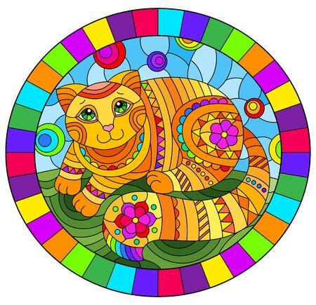Illustration in stained glass style with abstract cute red cat on a blue background, oval image in bright frame Archivio Fotografico - 138459627