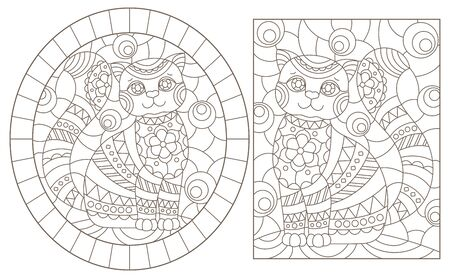 Set of contour illustrations of stained glass Windows with cute cartoon cats , dark contours on a white background Banque d'images - 138368280