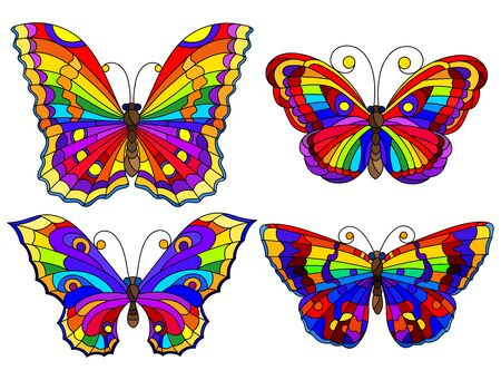 Set of bright abstract rainbow butterflies in stained glass style, isolated on white background Archivio Fotografico - 138459631