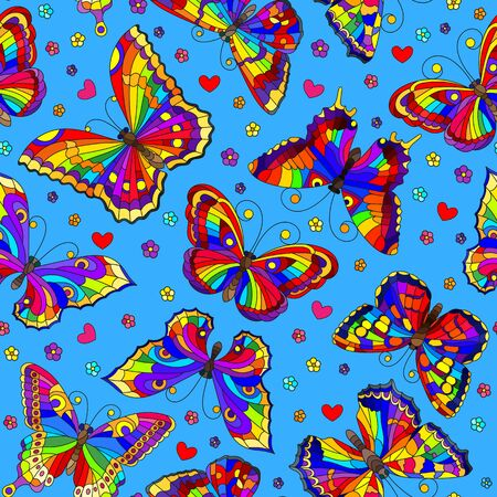 Seamless pattern with bright rainbow butterflies and flowers on blue  background