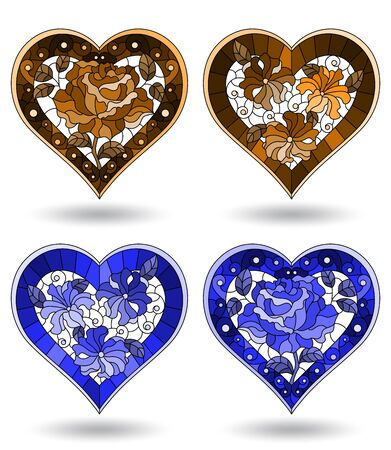 Set of stained glass illustration hearts and flowers, tone brown and blue on white background