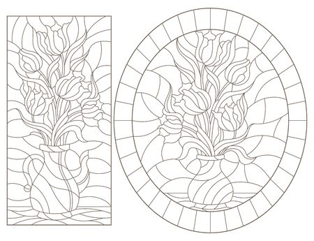 Set of contour illustrations of stained glass Windows with still lifes, vases with Tulip flowers, dark outlines on a white background Vectores