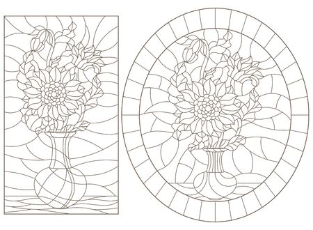 Set of contour illustrations of stained glass Windows with still lifes, vases with sunflower flowers, dark outlines on a white background