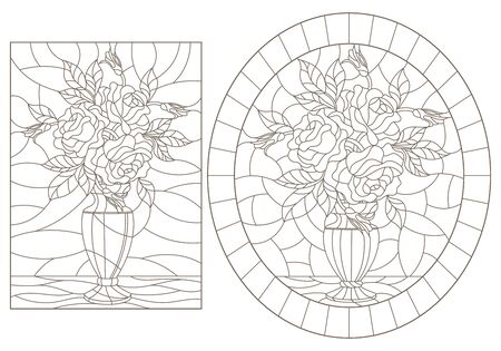 Set of contour illustrations of stained glass Windows with still lifes, vases with rose flowers, dark outlines on a white background