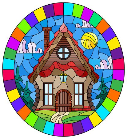 Illustration in stained glass style with a cozy wooden house against the background of trees and sky, oval image in a bright frame