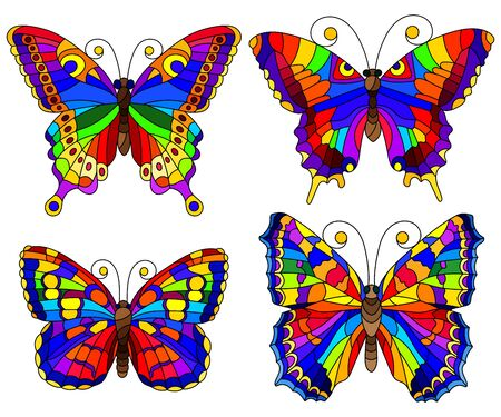 Set of bright abstract rainbow butterflies in stained glass style, isolated on white background Archivio Fotografico - 138459642