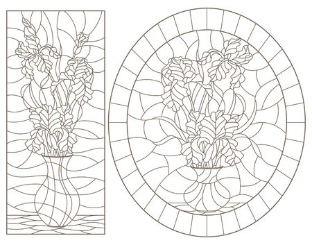 Set of contour illustrations of stained glass Windows with still lifes, vases with iris flowers, dark outlines on a white background