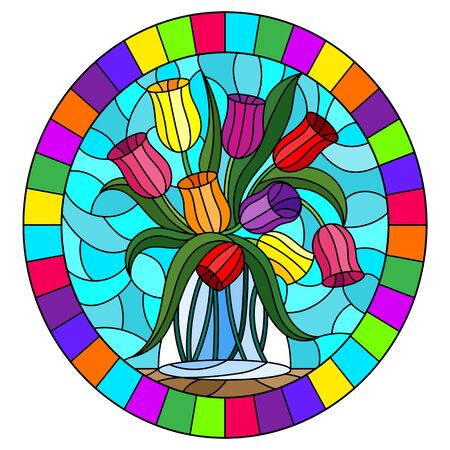 Illustration in stained glass style with still life, bouquet of  Tulips in a glass jar on a blue background,oval image in bright frame Vettoriali