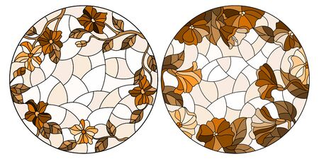 Set of stained glass illustrations with flowers, oval images in brown color scheme isolated on a white background Illusztráció