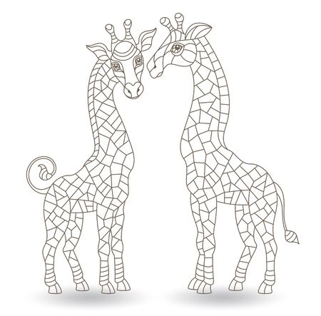 Set of contour illustrations in stained glass style with figures of abstract giraffes,dark outlines isolated on a white background