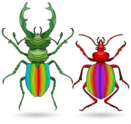 A set of illustrations in the style of stained glass with a bright beetles, isolated on a white background