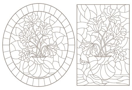 Set of contour illustrations of stained glass Windows with still lifes, poppies and pears, dark outlines on a white background Vectores
