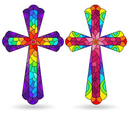 The illustrations in the stained glass style with set of Christian cross