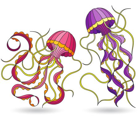 Set of illustrations in stained glass style with jellyfish, isolated on a white background