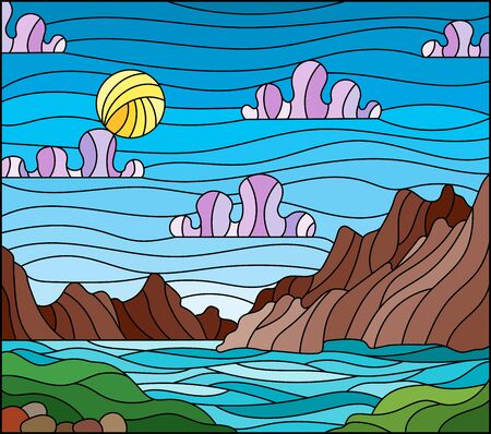 Illustration in stained glass style with a wild landscape, a lake on a background of mountains and a Sunny sky 矢量图像