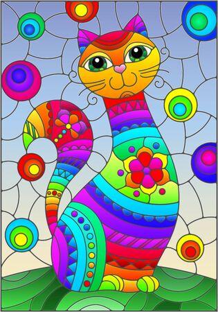 Ilustracja w stylu witrażu z abstrakcyjnym słodkim tęczowym kotem na niebieskim tle