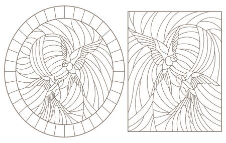 Set contour illustrations of stained glass birds,  a pair of swallows in sky on background of sun, dark outlines on a white background