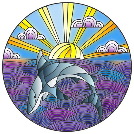 Illustration in stained glass style shark into the waves, Sunny sky and clouds, round image 向量圖像