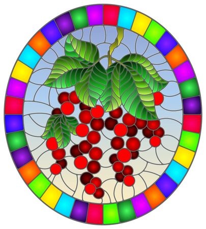 Illustration in stained glass style with red currants, clusters of ripe berries and leaves on a blue background, oval image in bright frame