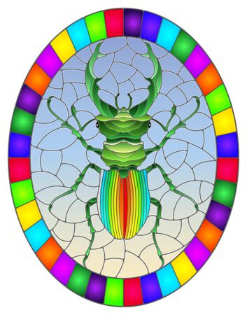 Illustration in stained glass style abstract in rainbow beetle deer on a blue background, the oval image in bright frame