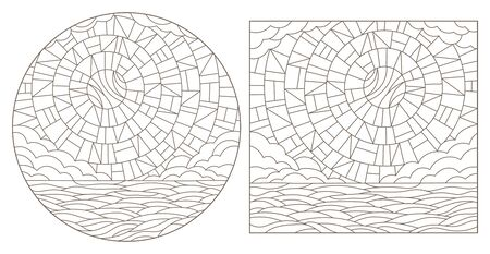 Set contour illustrations of the stained glass Windows with the heavenly landscapes, dark outlines on a white background