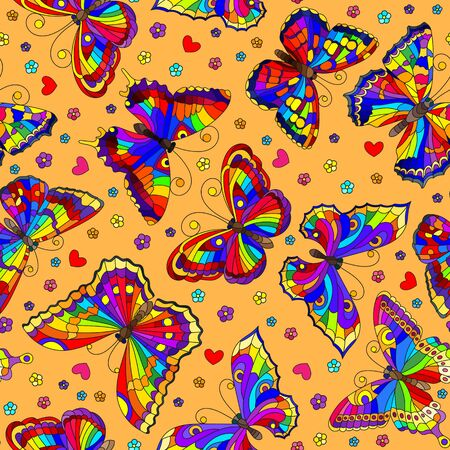 Seamless pattern with bright rainbow butterflies and flowers on an orange  background Illustration