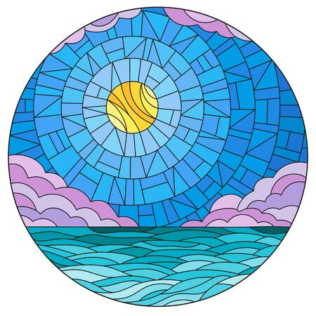 Illustration in stained glass style with sea landscape, sea, cloud, sky and sun, round image
