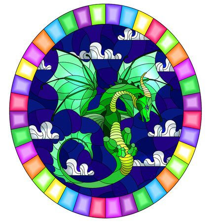 Illustration in stained glass style with bright green dragon on  blue sky background, oval image in bright frame