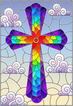 Illustration in stained glass style with bright cross on a background of blue sky and clouds Ilustração