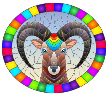 Illustration in the style of stained glass with abstract  ram head on a blue background oval image in bright frame Çizim