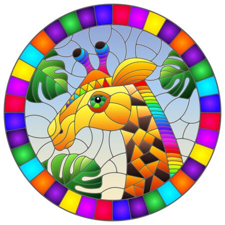 Illustration in the style of stained glass with abstract rainbow giraffe head on a blue background with leafs , oval image in bright frame