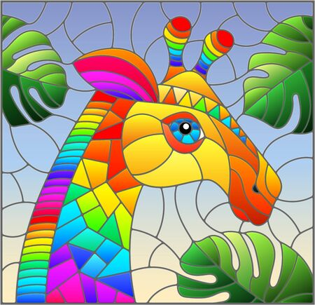 Illustration in the style of stained glass with abstract rainbow giraffe head on a blue background with leaves, rectangular image Ilustracja