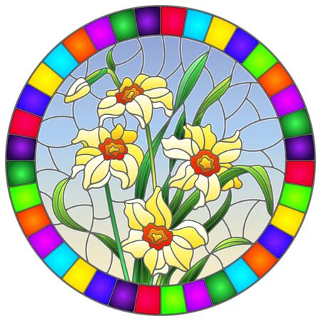 Illustration in stained glass style with yellow daffodils on blue background in bright frame, round image