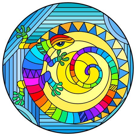 Illustration in stained glass style with abstract rainbow lizard and a sun on blue background, round image