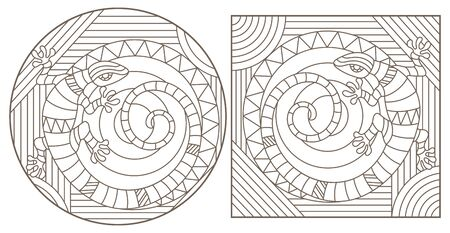 Set of contour illustrations in stained glass style with lizards, dark outlines on a white background
