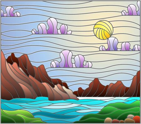 Illustration in stained glass style with a wild landscape, a lake on a background of mountains and a Sunny sky 일러스트